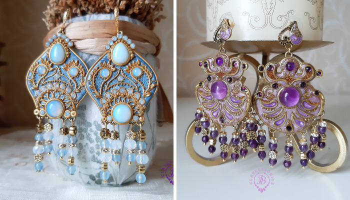 Earrings Made In The Style Of Russian Traditional Headwear