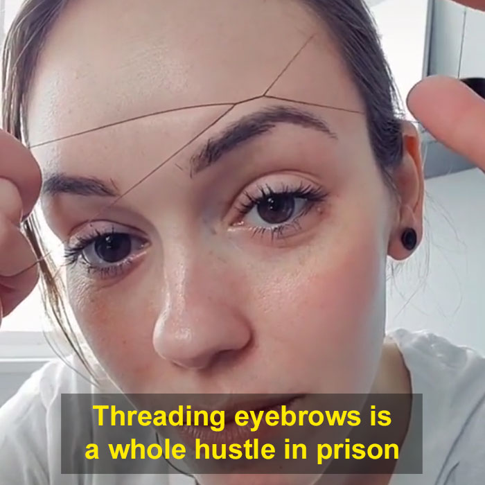 Women Fix Their Eyebrows Using A Thread Instead Of Tweezers