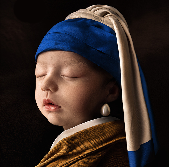 For His Newborn Daughter's Photoshoot, This Dad Recreated Famous Paintings He And His Wife Love
