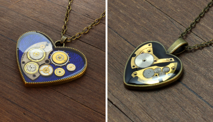 Unique Heart Pendants Collection I Made From Watch Parts In Steampunk Style For Valentine's Day