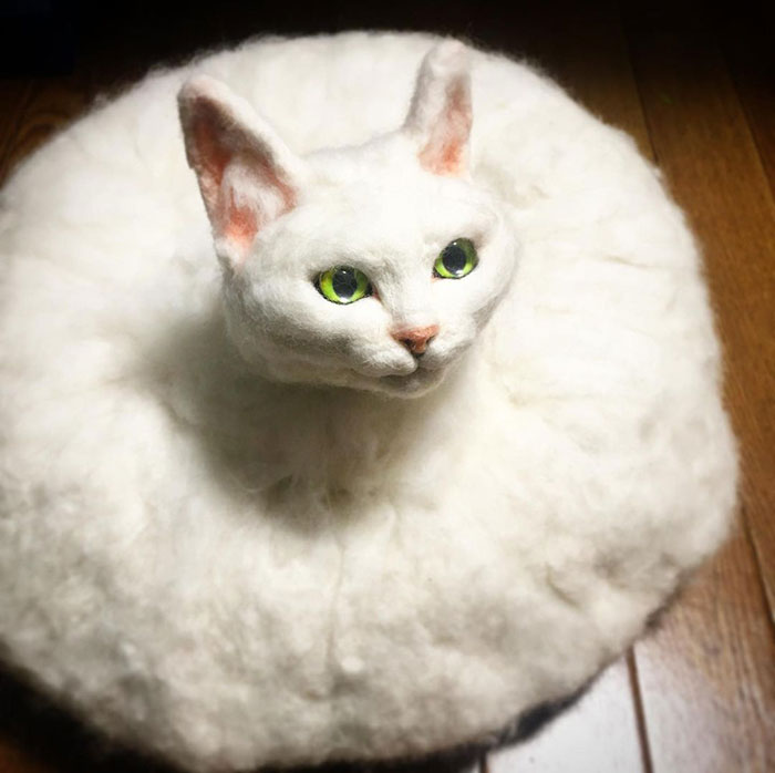 Japanese Felt Artist Combines Art And Technology To Create Creepy Cats (26 Pics)