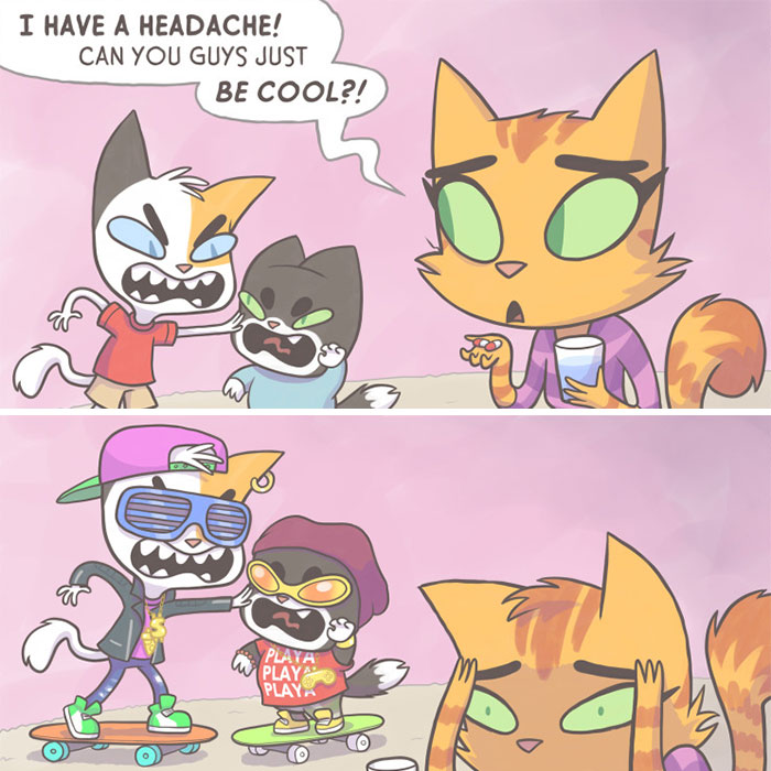 I Illustrate My Experience As A Modern-Day Parent In 30 Comics With A Feline Twist (New Pics)