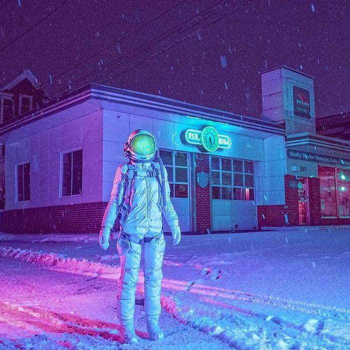 I Took 40 Pictures Of An Astronaut Character Posing Around Futuristic And Dystopian Cities