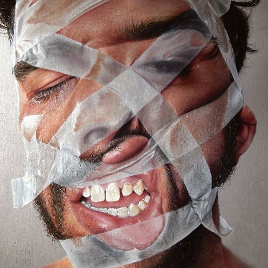 'facelift' #amiprettyyet? sometimes We Go To Extremes To Disfigure Ourselves, Only To Refigure Ourselves To Someone Else's Standards. my Question To You Is- How Much Is Too Much? • • • oil On Linen Wrapped Birch Gallery Panel. painted By Myself @kit_king And My Hubby @oda.paints this Piece Will Be Displayed At The @lastritesgallery Group Show 'Transfigure' Between August 22nd- October 3rd 2015. be Sure To Check It Out If You're In The NY, NY Area.