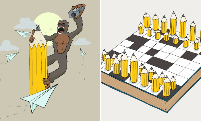 I'm Cem Çevikayak, And Here Are My Cartoons Of A Yellow Pencil And Pop Culture