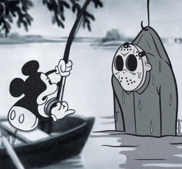 Artist Imagines Iconic Horror Characters In Classic Disney's Mickey Mouse (15 Pics)