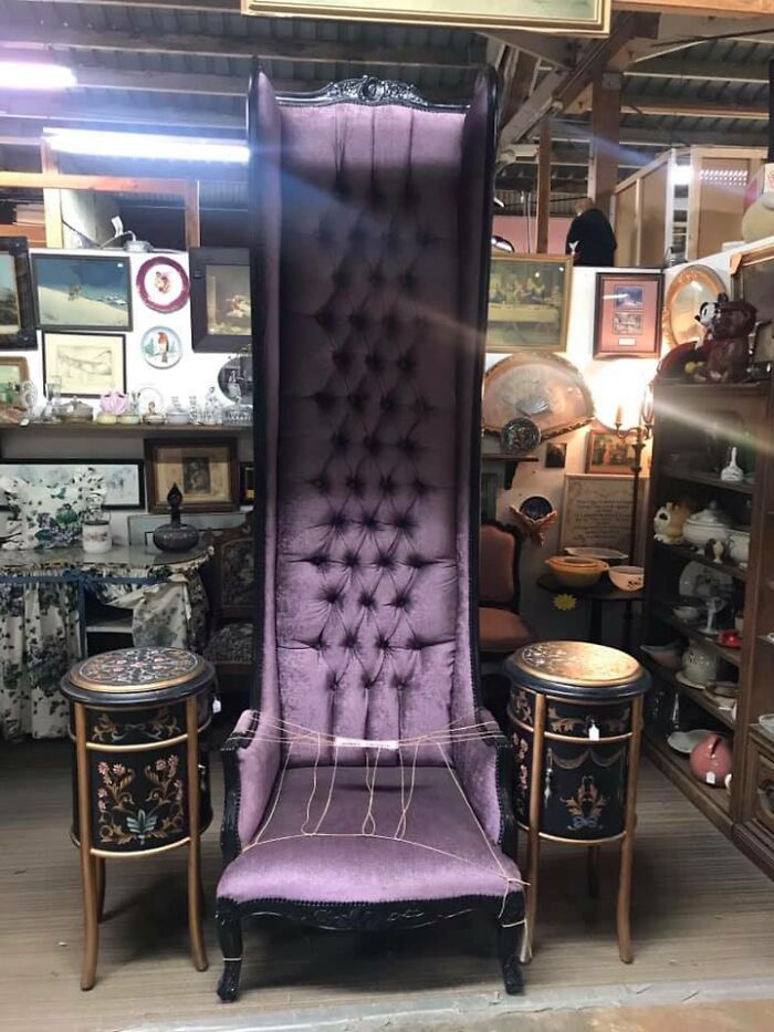 Saw This At Treasures And Junk In Ontario, California. It Was Sold Already, For 500$. What An Amazing Chair And It's Purple & Black!