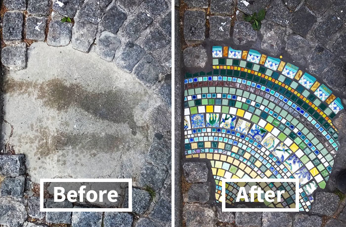 Artist Mends Cracked Sidewalks, Potholes And Buildings Using Vibrant Mosaics, And Here Are His Best 30 Works