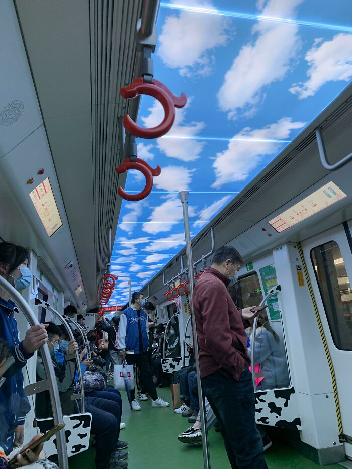 This Subway Train Has Clouds On The Ceiling To Look Like The Sky