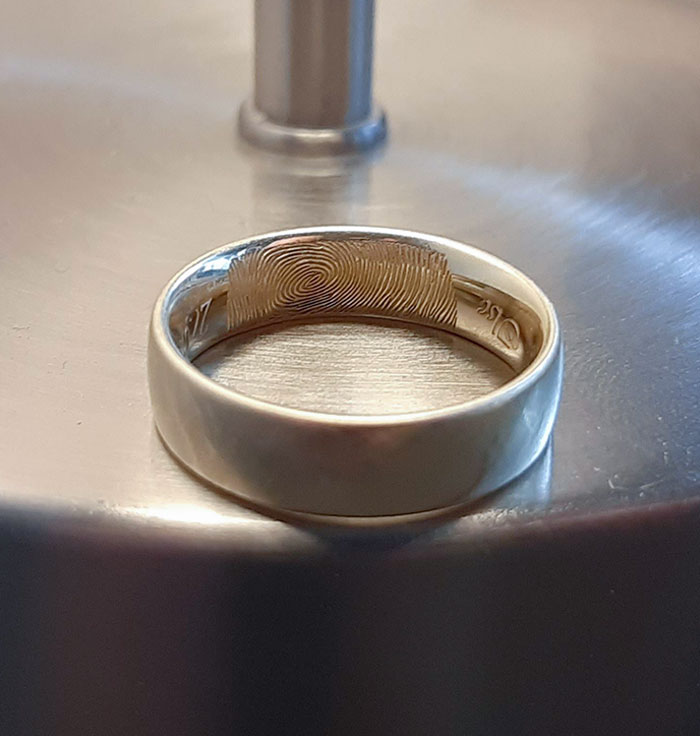 Our Wedding Bands Are Laser Engraved With Each Other's Fingerprint