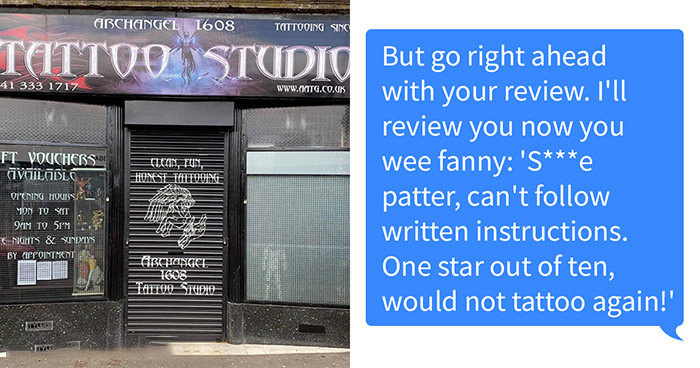 """Tattoo Parlor Shares A Now-Viral Chat With A """"My Dad Says"""" Customer Who Failed To Follow Instructions"""