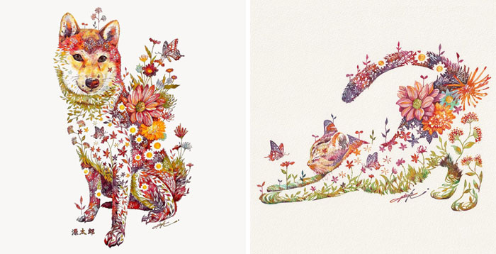 Japanese Artist Depicts Cats, Dogs, And Other Animals Using Watercolor Flower Arrangements (30 Pics)
