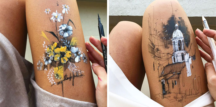 Artist Uses Her Own Thighs As A Canvas And Creates Stunning Ink Drawings (30 Pics)