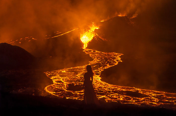 This Photographer Took 10 Mesmerizing Self-Portraits In Front Of The Erupting Fagradalsfjall Volcano